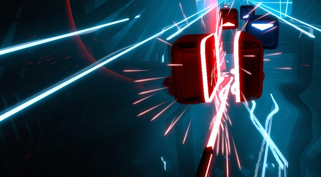 Verwendet PS Move um im Rhythmus-Action-Game Beat Saber Blöcke zu zerhacken – bald für PS VR