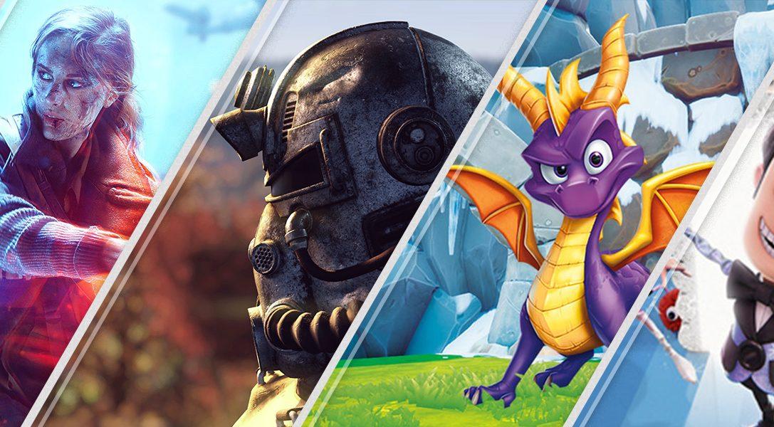 Diese Woche neu im PlayStation Store: Battlefield V, Fallout 76, Spyro Reignited Trilogy und mehr