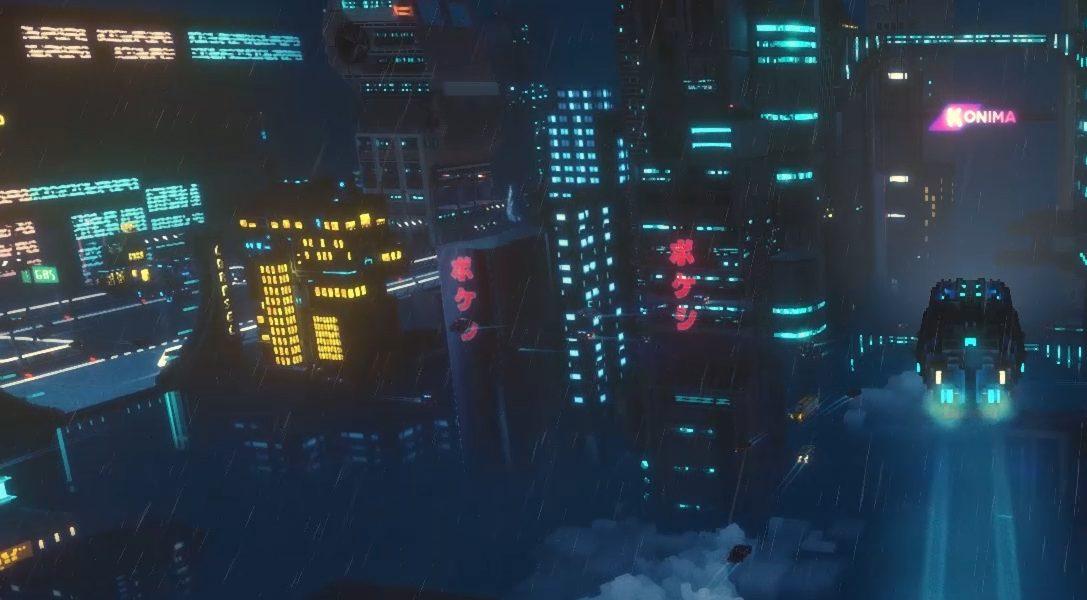 Überlebt in Cloudpunk die Nacht als Kurierfahrerin in einer Cyberpunk-Metropole im Voxel-Stil