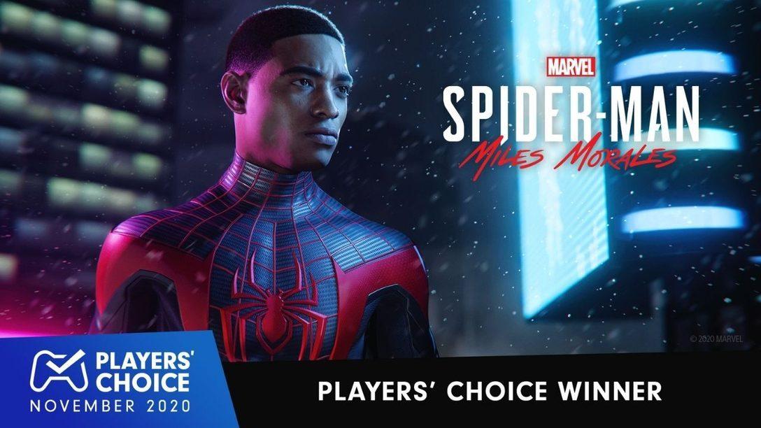 Players´ Choice: Marvel's Spider-Man: Miles Morales wurde zum besten Spiel von November 2020 gewählt