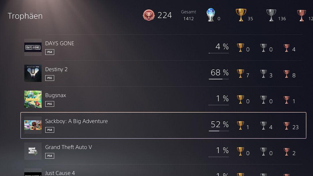 Trophäen verwalten und versteckte Erfolge anzeigen mit der PlayStation App
